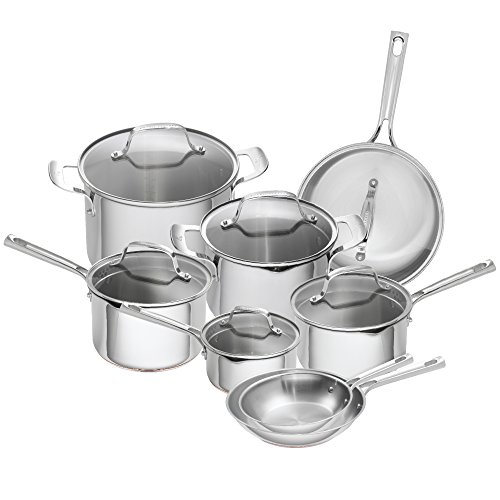 Emeril Lagasse 14 Piece Stainless Steel Cookware Set With Copper Core, Induction Compatible, Dishwasher Safe, Silver Burnt Stainless Steel Pot