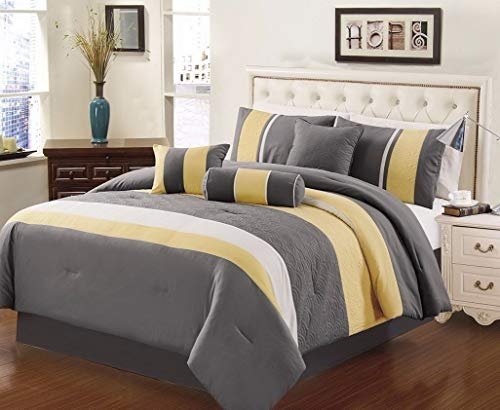 Kaputar 7-Piece 3-Tone Embroidery Striped Comforter Set, Black, Gray, Yellow, Model CMFRTRSTS - 7184 | California King