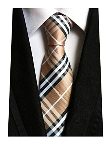 MENDENG Woven Classic Check Business Tie Men's Party Necktie Formal Plaid Ties,Brown,One ()