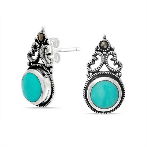 Bali Style Stud Drop Earrings For Women Round Stabilized Turquoise Bezel Set Filigree Scroll Oxidized Sterling Silver (Style Filigree Earring Settings)