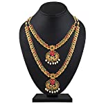 Shining Diva Fashion Latest Combo Design Pearl Necklace Set for Women Traditional Gold Plated Jewellery Set for Women (Multicolor) (10595s)