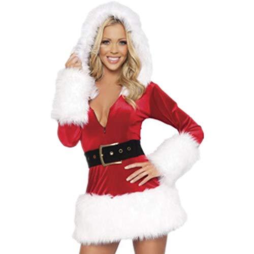 Women's Mrs. Claus Costume Santa Claus Suit Skirt Christmas Costumes(White F(S-XL)) -