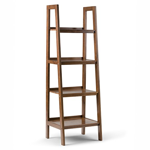 Simpli Home Sawhorse Ladder Shelf, Medium Saddle Brown