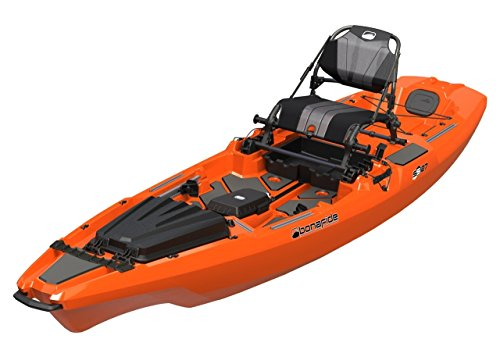 Bonafide SS127 Ultimate Sit on Top Fishing Kayak With Built in Storage , HiRise Seat , Hybrid Cat Hull Design For Maximum Stability With Free Three Belles Outfitters Performance T-Shirt (Hondo Orange) by Bona Fide