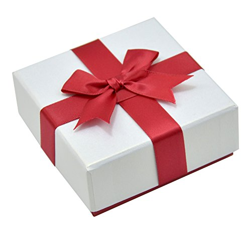 Paialco Jewelry Package Paper Gift Box Red Ribbon Bow-knot 3 3/4-Inch by 3 3/4-Inch
