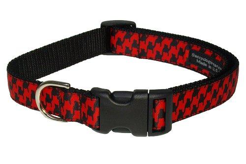 Sassy Dog Wear 13-20-Inch Poppy/Black Houndstooth Dog Collar, Medium