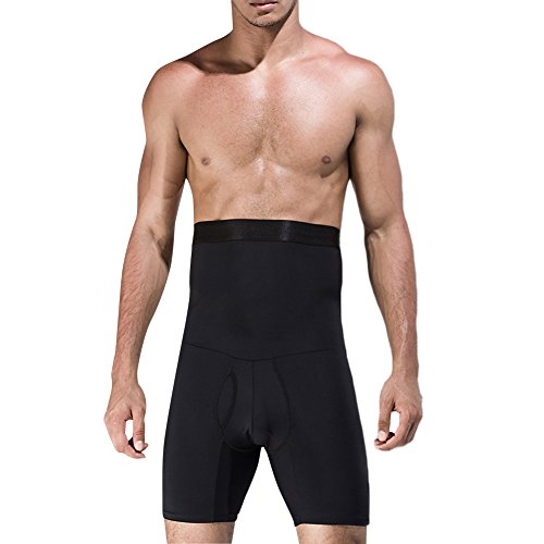 FeelinGirl Men Tummy Control Shorts High Waist Slimming Underwear Body Shaper Seamless Belly Girdle Boxer Briefs,XL Black (Best Exercise For Love Handles Men)