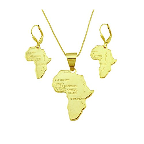 Passage 7 18K Real Gold Plated Map of Africa Pendant Necklace Earrings Jewelry Set