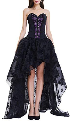 EmilyLe Donna gotici del merletto dell'annata Bustiers con gonna costume di alta bassa Steampunk Nero