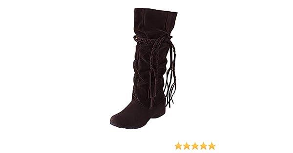 806a091282b34 POLP Botas Mujer Invierno Botines y Botas Altas Mujer Botas Altas cuña Botas  Altas Mujer Botas de cuña Botines Altos Zapatos Mujer para Lluvia Botas  Mujer ...