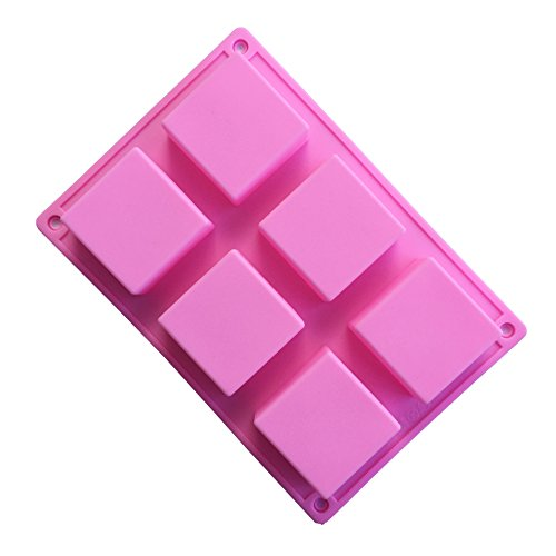 Always Your Chef 6 Cavity Silicone Square Soap Molds  Square Premium Silicone Mold For Cupcake  Bread  Loaf  Muffin  Brownie  Cornbread  Cheesecake  Pudding  And More  Random Colors