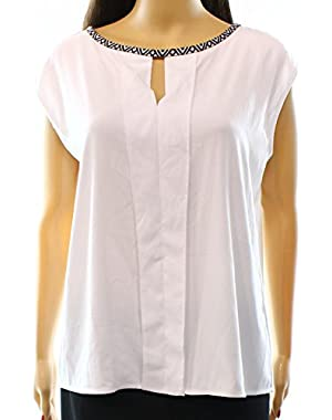 Calvin Klein Womens Petites Pattern Trim Pleated Blouse White PL