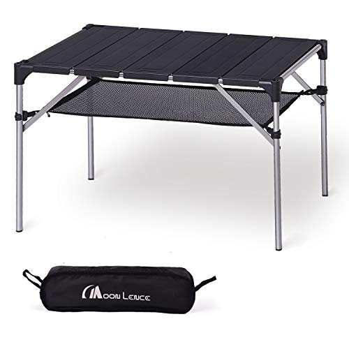 MOON LENCE Lightweight Portable Camping Table Compact Outdoor Aluminum Folding Table for Picnic...