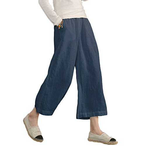 (Ecupper Womens Casual Loose Plus Size Elastic Waist Cotton Trouser Cropped Wide Leg Pants Dark Blue 20W)