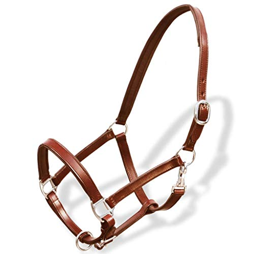 Tidyard Adjustable Headcollar Stable Halter Real Leather with Round Stitched Throatlash Brown Cob ()
