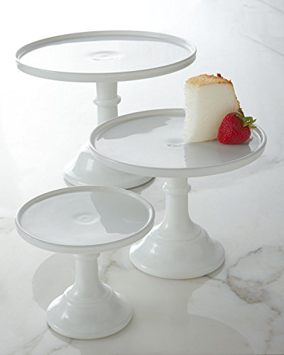 "Milk White 9"" Glass Cake Stand - Made in the USA By Mosser Glass"