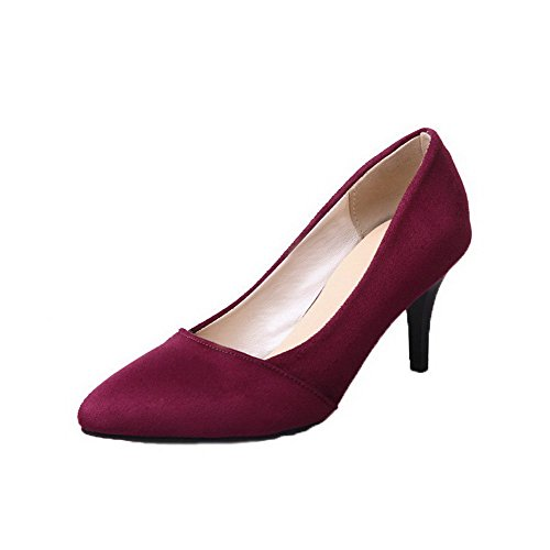AmoonyFashion Womens Kitten-Heels Frosted Solid Pull-On Closed-Toe Pumps-Shoes Claret TdaKW1eP