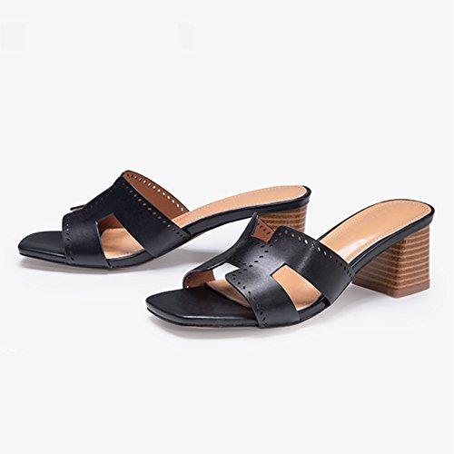 Tacones Y Zapatos us Sandalias 39 uk 8 Altos 6 Con Verano Femenina De jp Mujer Negro Jianxin Tamaño Moda Eu 25cm Negro Primavera color A8wvXTTq