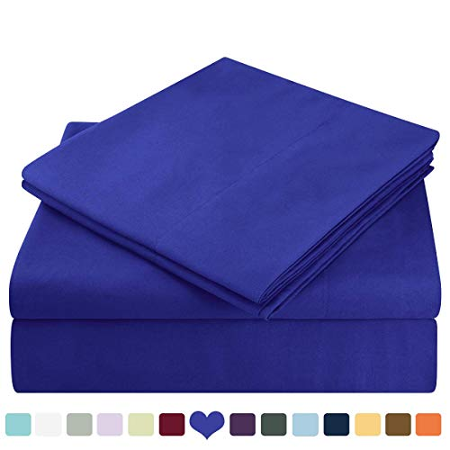 HOMEIDEAS Bed Sheets Set Extra Soft Brushed Microfiber 1800 Bedding Sheets - Deep Pocket, Hypoallergenic, Wrinkle & Fade Free - 4 Piece(Full,Royal Blue)