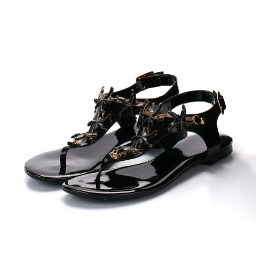 M Leather Black with Cow Buckle Thong WeenFashion Soft US Womens Solid Toe Open Material Sandals B 7 w7wCZqtI