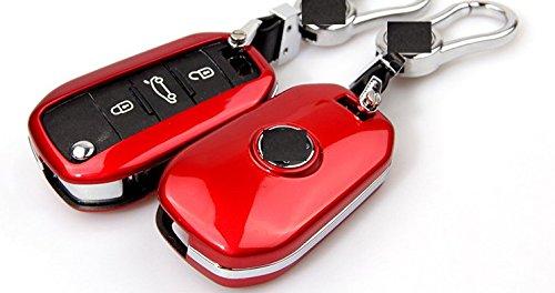 Eppar New Protective Key Case for Peugeot 5008 2008 3008 408 308 508 301 208 Tepee iOn RCZ 108 208XY (Folding Key, Red)