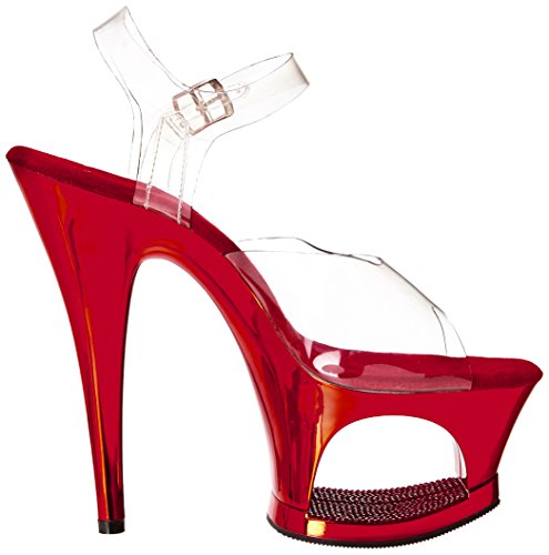 Femme Clr Ouvert Moon 708dmch Red Pleaser Transparent Chrome Sandales Bout 4SpxRq