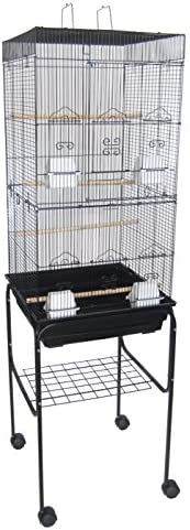 YML 6924 3 8 Bar Spacing Tall Flat Top Bird Cage with Stand