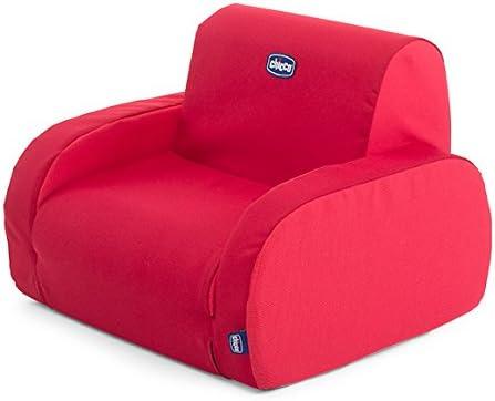 Sillón para niños, transformable y desenfundable, 3 posiciones diferentes, color rojo (Red)