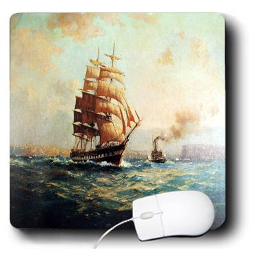 - 3dRose LLC 8 X 8 X 0.25 Inches Picture of Old Schooner N Tugboat PaInting of Ships Mouse Pad (mp_100925_1)