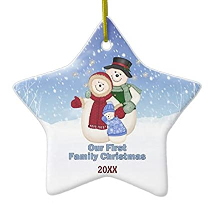 1st christmas blue frosty snowman family christmas ornaments holiday tree ornament both sides star ceramic ornament - Frosty Blue Christmas Decorations