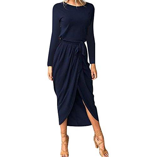Femmes Robes Jeu Dame Solide Bandage Boho Moulante Fendue Longue Robe Swing Soirée Beachwear Manches Bleu Foncé