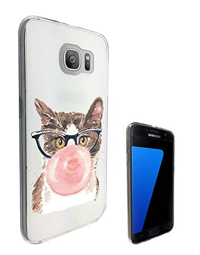 c0317 - cool fun cute illustratin cat kitten feline nerd glasses bubblegum love Design Samsung Galaxy S7 G930 Fashion Trend CASE Gel Rubber Silicone All Edges Protection Case - Glasses Bubblegum