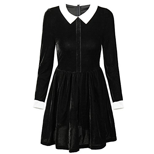 [Felove Women's Autumn Peter Pan Collar Long Sleeve Flare Dress(M)] (Wednesday Addams Costume)
