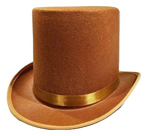 Deluxe Felt Gangster Hat - Rocky's Rocket Halloween Mens Tall Brown Willy Wonka Dickens Caroler Steampunk Coachman Top Hat Topper Costume
