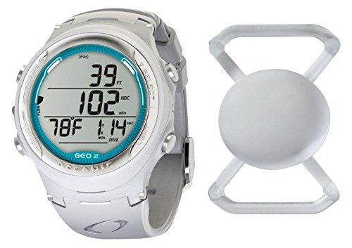 Oceanic GEO 2.0 Scuba Diving Wrist Computer with Free Lens Protector Valued at $12.95 for Added Protection to The Glass Face of Your Dive Computer (Sea Mist Blue Ring/White Body/White Band) ()