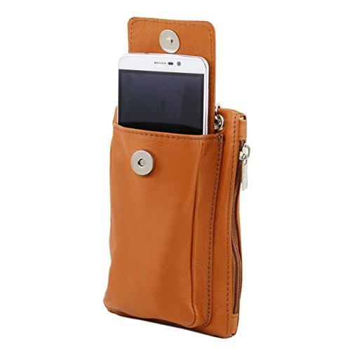 Tuscany Leather TL Bag - Bolsillo Porta móvil en piel suave Negro Bolsos en piel Amarillo