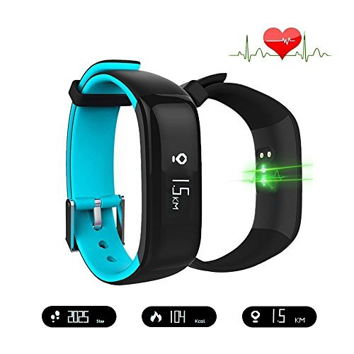 Smart Band Watchband Health Fitness Tracker with Heart Rate Monitor and Blood Pressure Sports Smart Wristband Pedometer Smart Bracelet Bluetooth Smart Watch For IOS Android Phone (P1-Blue)