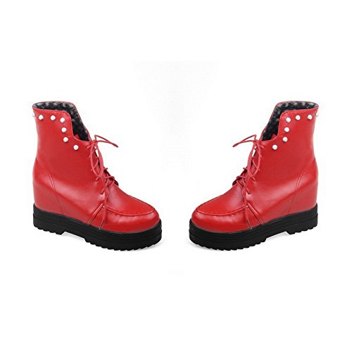 Allhqfashion Women's Solid High-Heels Round Closed Toe PU Lace-up Boots Red KdOBQl