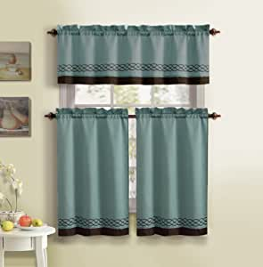3 Piece Kitchen Curtain Set 1 Valance 2 Tiers Steel Blue And Brown Home
