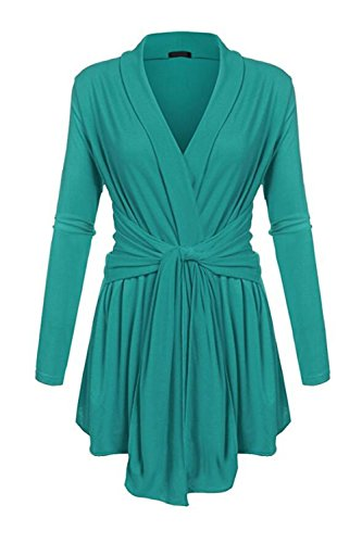 Surplice Soft Cardigan Outerwear Tops Green L (Green Surplice)