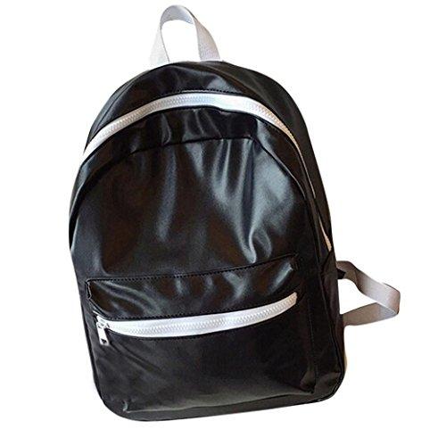 Clode® Mochila de hombro chicas chicos PU cuero escuela bolso viaje mochila cartera mujer Negro