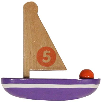 4 Inch Wooden Sailboat Toy
