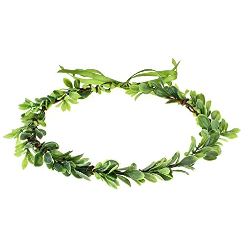 (Accesyes Elegant Berry Leaf Headband Boho Crown Festival Wedding Beach Halo Exquisite Hair Wreath (Green))