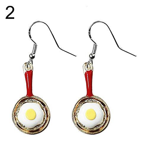 Fashion Earrings, gLoaSublim Lovely Women Frying Pan Fried Egg Dangle Hook Earrings Jewelry Birthday Gift - Silver