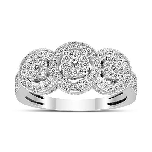 1/2 Carat TW Three Stone Halo Cluster Diamond Ring in 14K White Gold