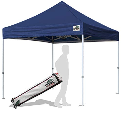 Eurmax 10'x10' Ez Pop Up Canopy Tent Commercial Instant Shelter with Heavy Duty Roller Bag(Navy Blue)
