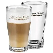 WMF Barista Juego de 2 Vasos Latte Machiatto, Cristal, Vidrio