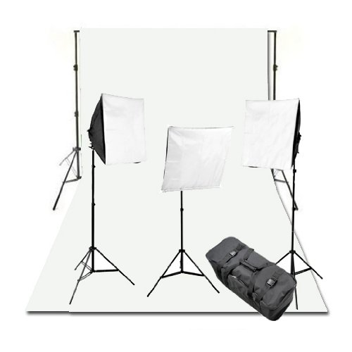 CowboyStudio Complete Photography and Video Stuido 2400 Watt Three Softbox Continuous Lighting Kit with 10 x 12-Feet White Muslin Background and Backdrop Support Stand by CowboyStudio