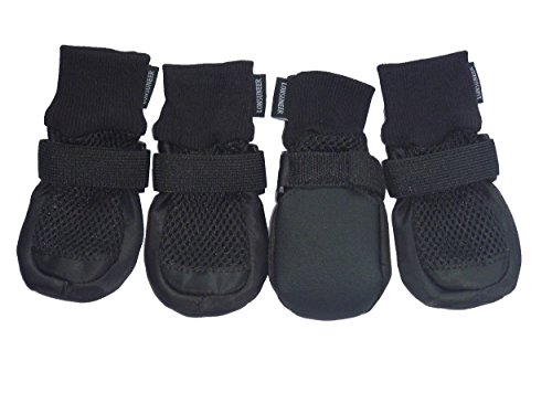 LONSUNEER Paw Protector Dog Boots Set of 4 Breathable and Protect Paws Soft Nonslip Soles Black Color Size (Dog Rubber Boots)