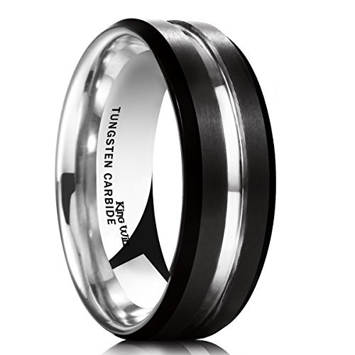 King Will LOOP 7mm Black Matte Brushed Tungsten Carbide Ring Thin Line Mens Comfort Fit Beveled Edge Wedding Band(8.5)